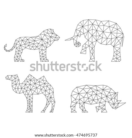 Geometric animals silhouettes.  Set of polygons