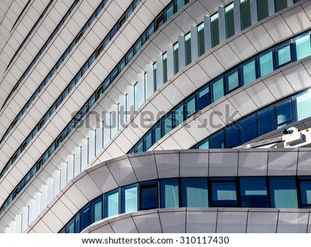 Geometric architectural details of a contemporary office building in the Netherlands - stock photo
