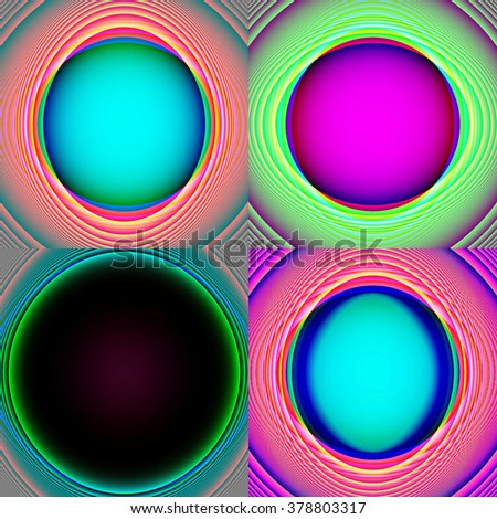 geometric background of purple, black, blue and green circles