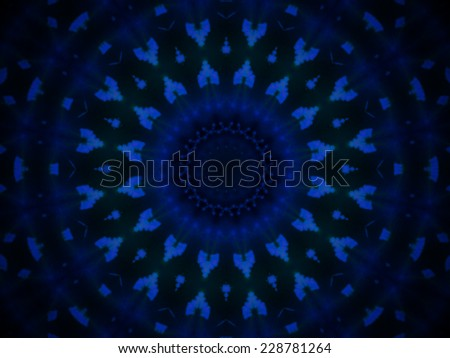 Geometric blue pattern with symmetric shapes forming a concentric abstract representation, gradually fading on a black background, notably usable as artistic stylish backdrop, wallpaper or packaging - stock photo