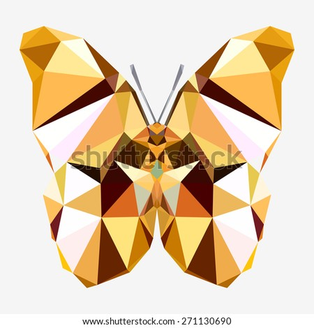 Geometric crystalline butterfly with many triangles  - stock photo