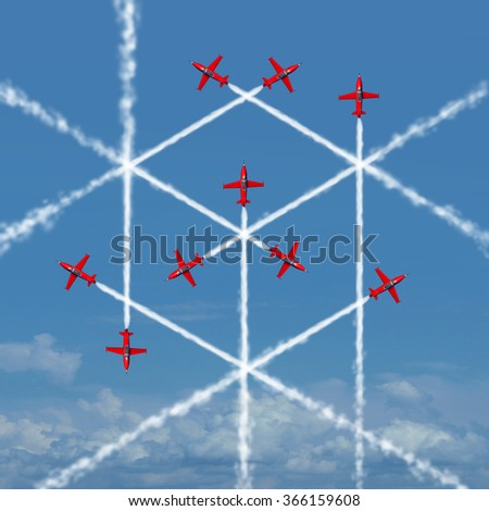 Geometric cube concept as an abstract three dimensional square shape created by the smoke trail of flying jet airplanes as a symbol for geometry or team organizing and working together for success. - stock photo