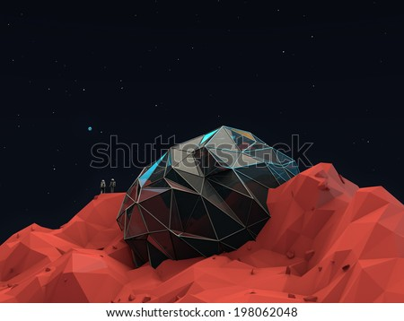 Geometric 3d Space Base with Astronauts - stock photo