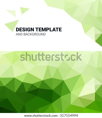 Geometric Elements green  Business Design. Corporate Cover Template. Triangles background. Polygonal raster abstract for your design. Gradient low poly background image for websites and banners.
