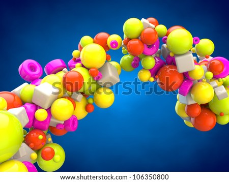 Geometric figure shining color. 3d rendering. - stock photo