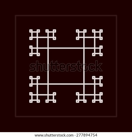 Geometric fractal frame in lined minimalistic style. - stock photo