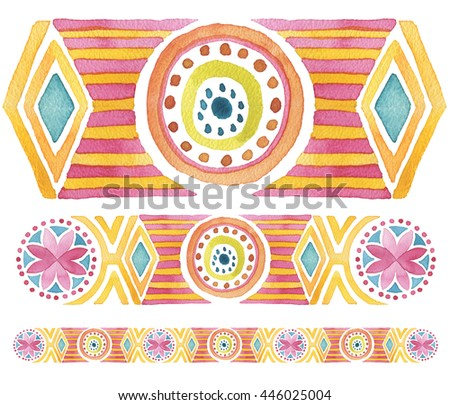 Geometric hand drawn watercolor seamless ornament. Isolated. - stock photo