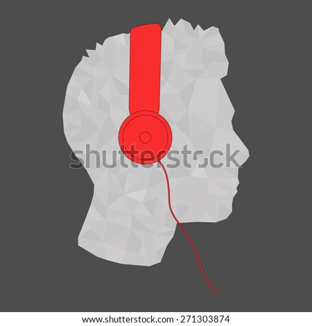 Geometric head profile with headphone music illustration