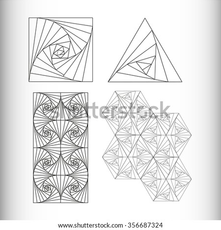Geometric illustration. Triangles, squares and geometric patterns of the figures.