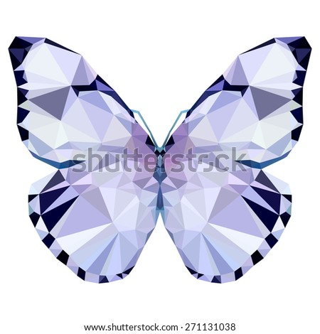 Geometric light butterfly with many triangles  - stock photo