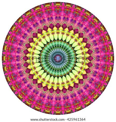 Geometric Mandala.Mandala created from fractals, Flower of Life. - stock photo