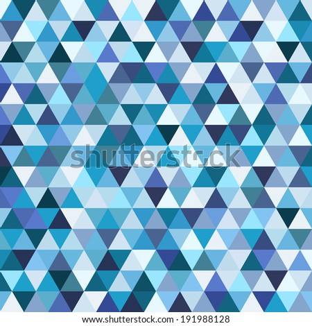 Geometric mosaic pattern from blue triangle texture, abstract  background illustration