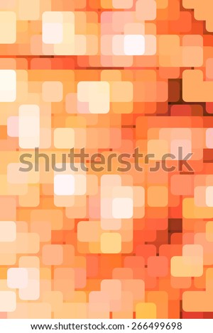 Geometric multicolored abstract of rounded squares, overlapping for illusion of three dimensions, like a grid of city lights in a business or entertainment district at dusk or night - stock photo