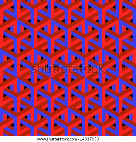 Geometric optical art background in red and blue.