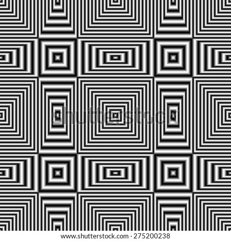 Geometric optical illusion seamless pattern with black and white stripes. Digitally generated abstract optical illusion with effect of shimmering and volume. - stock photo