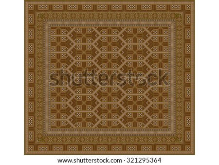 Geometric ornament of rhombuses  brown shades for carpet