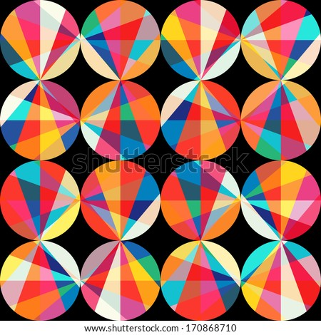 geometric pattern of circles and triangles. Colored circles seamless pattern. Vintage abstract seamless pattern. Bright geometry template. Round shapes. Retro hand drawn circles ornament - stock photo