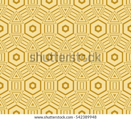 geometric pattern of hexagons. Seamless Raster illustration. for the design, printing, presentations, wallpapers. gold color