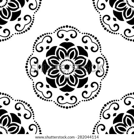 Geometric pattern. Seamless  background. Abstract texture for wallpapers. Black and white colors