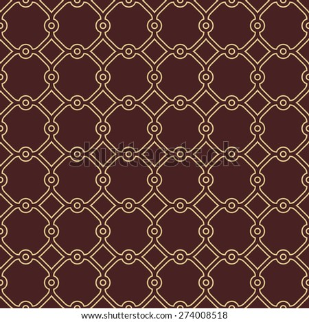 Geometric pattern. Seamless  background. Abstract texture for wallpapers. Brown and golden colors - stock photo