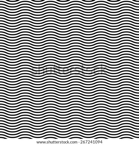 Geometric pattern. Seamless  background. Abstract waves. Black and white colors - stock photo