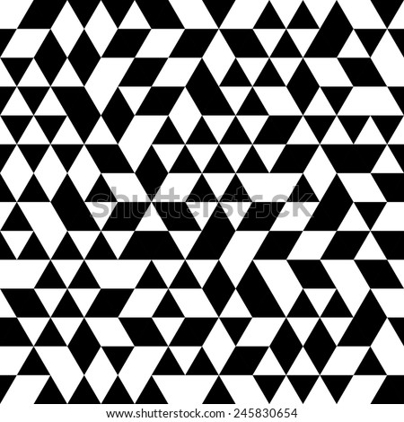 Geometric  pattern with black and white triangular elements. Seamless abstract ornament for wallpapers and background - stock photo