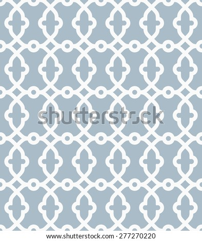 Geometric  pattern with oriental elements. Seamless grill with abstract ornament. Blue and white colors. - stock photo