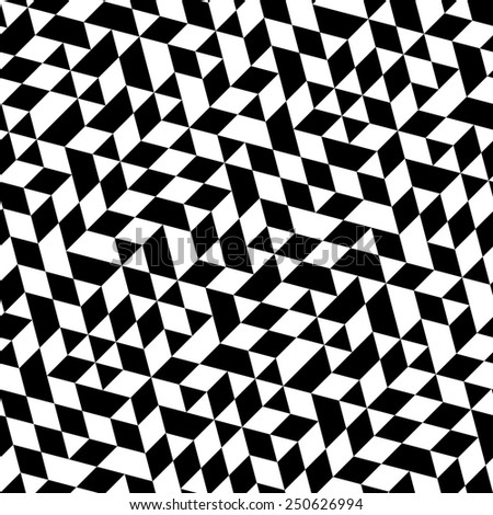 Geometric  pattern with triangular elements. Seamless abstract ornament for wallpapers and backgrounds. Black and white colors - stock photo