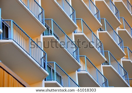 Geometric patterned balconies of a hotel.