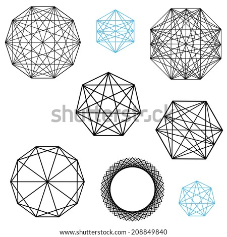 geometric polygon designs with interesecting lines - stock photo