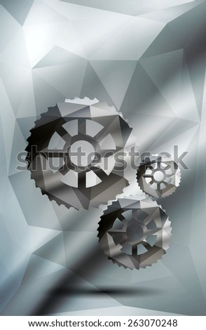 Geometric polygonal gears with abstract gray and green geometric background.Raster version. - stock photo
