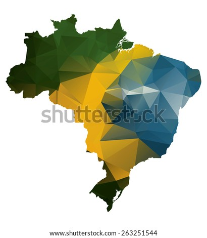 Geometric polygonal style map of Brazil. Raster version - stock photo