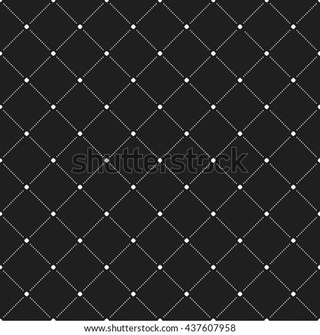Geometric repeating ornament with diagonal dotted lines. Seamless abstract modern black and white pattern