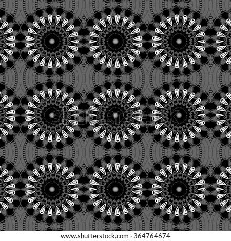 geometric rosettes pattern - black and white abstract background  - stock photo