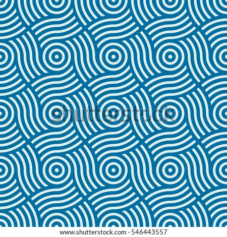 geometric seamless pattern, abstract endless composition created with overlay curls and circles. Blue background with intertwine curves.