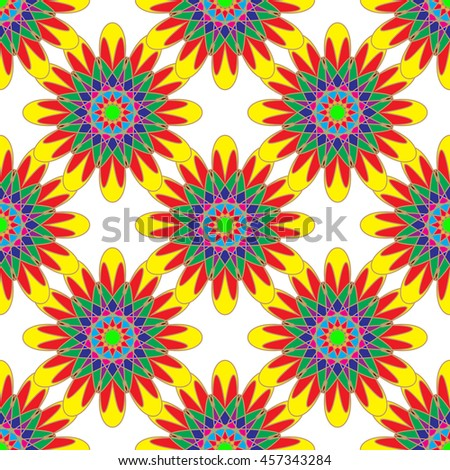 Geometric seamless pattern with fractal flower in yellow red and green colors on white background. - stock photo