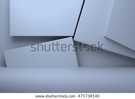 Geometric shapes abstract background. Pastel colors. 3D illustration.