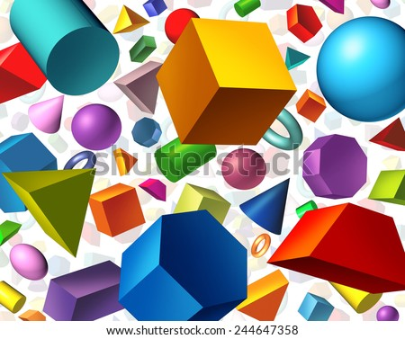 Geometric shapes background and geometry concept as basic three dimensional figures as a cube sphere cylinder floating on white as an education and math learning symbol. - stock photo