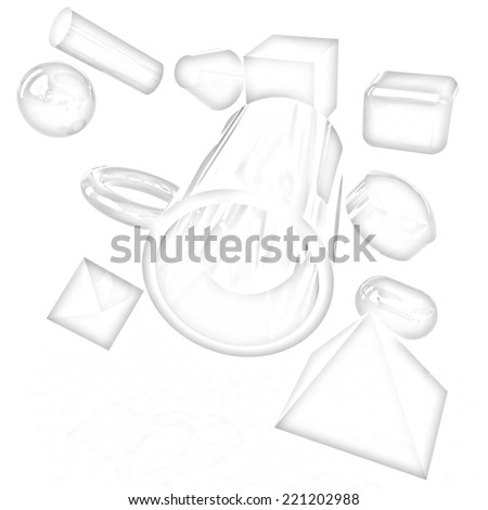 Geometric shapes on a white background. Pencil drawing  - stock photo