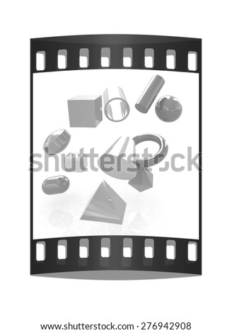 Geometric shapes on a white background. The film strip - stock photo