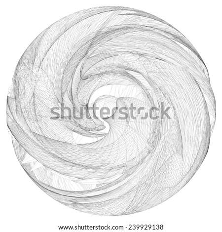 Geometric Squeeze Twist Wireframe Sphere 14 - stock photo