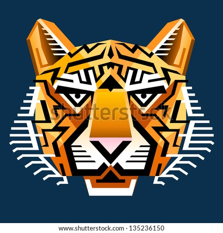Geometric tiger's face. Graphic tiger head front view. Isolated on dark blue background. - stock photo