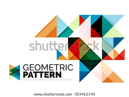 Geometric triangle mosaic pattern element isolated on white. Universal business identity element. Abstract background, online presentation website element, business identity or mobile app cover  - stock photo