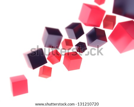 Geometrical background with abstract color cubes and space for text (black and red) - stock photo