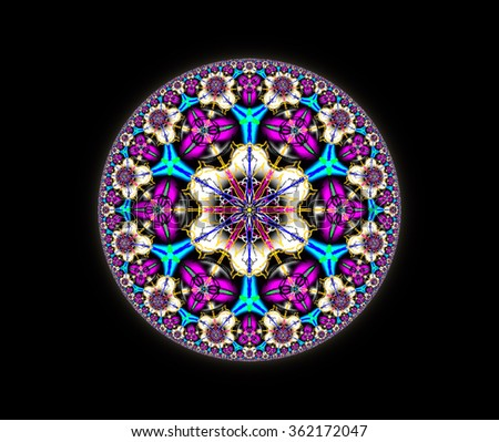 Geometrical mandala, blue and magenta triangle, white floral ornament pattern. Illustration background.