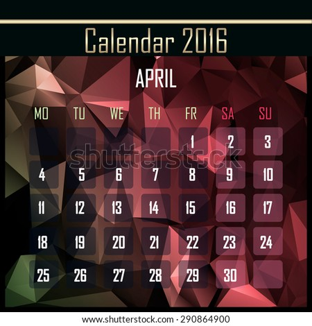 Geometrical polygonal triangles 2016 calendar design for april month - stock photo