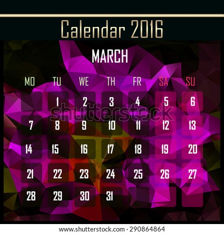 Geometrical polygonal triangles 2016 calendar design for march month - stock photo