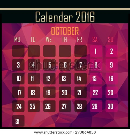 Geometrical polygonal triangles 2016 calendar design for october month - stock photo