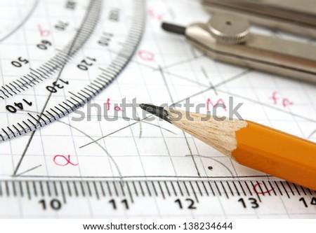Geometry drawing - stock photo