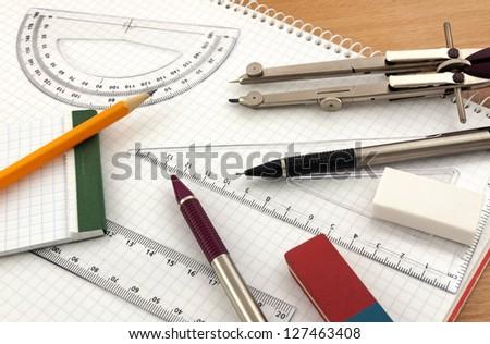 Geometry equipment - stock photo